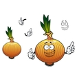 Sprouted cartoon golden onion vegetable character vector image vector image