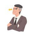 stressed businessman with folded hands man vector image vector image