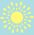 sun round icon yellow rays of light cute cartoon vector image vector image