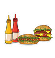 three burgers in the sketch style on the white vector image