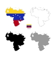 Venezuela country black silhouette and with flag vector image