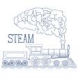 vintage steam train engrave vector image vector image