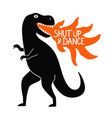 with black dancing tyrannosaurus flame vector image vector image