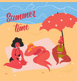 women on yellow sand beach taking summer sunbath vector image vector image
