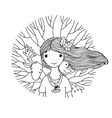 Young beautiful girl fairy deer bird and tree vector image vector image