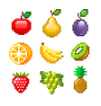 Pixel fruits for games icons set vector image