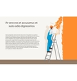 Man decorator painter painting a color wall vector image