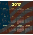 Calendar 2017 with USA flag background vector image