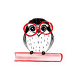 cute hand drawn owl with red glass sitting on vector image