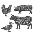 Farm animals icon set Chicken cow duck pig vector image