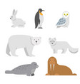 arctic snow animals vector image vector image