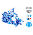 blue triangle canada map vector image