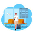 business trip man tourist in airport vacation vector image vector image