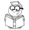 Cartoon owl teacher vector image
