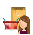 cartoon woman basket red bag gift e-commerce vector image vector image
