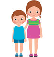 children brother and sister stand in full length vector image
