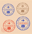 collection of chicago postal stamps partially vector image vector image
