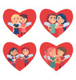 couples in love valentine day vector image vector image