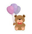 cute bear teddy with balloons air vector image