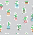 cute seamless pattern with cacti and succulents vector image
