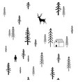 doodle stile seamless pattern with pine forest vector image