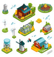 farm landscape elements set vector image vector image