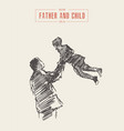 father holds son his arms hand drawn sketch vector image