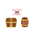 flat treasure and pirates symbols set vector image vector image