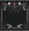 floral frame with spider web vector image vector image