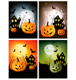 four halloween backgrounds with pumpkins vector image vector image