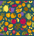 fruits color hand drawn seamless pattern vector image
