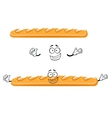 Funny cartoon french baguette bread vector image