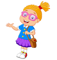 girl holding bag cartoon presenting vector image