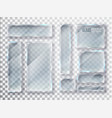 glass transparent plates set glass modern vector image vector image