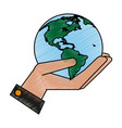 hand with globe design vector image