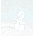 Happy snowman on winter landscape card vector image vector image