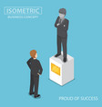 Isometric businessman looking at statue of himself