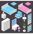 isometric furniture white color vector image