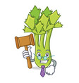 judge celery mascot cartoon style vector image vector image