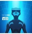 Man in a virtual reality helmet vector image vector image