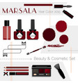 marsala color beauty cosmetic icons set vector image