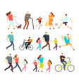 men and women walking outdoor cartoon vector image vector image