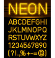 Neon font and symbols vector image