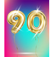 number ninety gold foil balloon on gradient vector image vector image