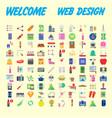 orange background 100 universal icon set for web vector image vector image