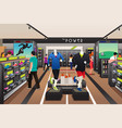 people shopping for shoes in a sporting store vector image vector image