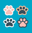 pet paw print icon dog or cat foot black vector image vector image