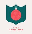 red christmas ball and green shield coronavirus vector image