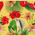 red flowers leaves yellow background seamless vector image vector image