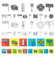 road junctions and signs flat icons in set vector image